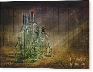Old Bottles Wood Print by Veikko Suikkanen