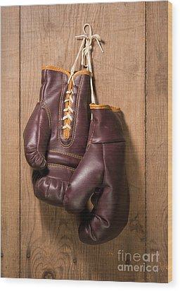 Old Boxing Gloves Wood Print by Danny Smythe