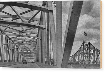 Wood Print featuring the photograph Old Bridge New Bridge by Janette Boyd