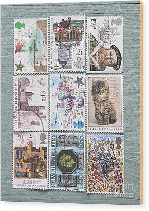 Old British Postage Stamps Wood Print