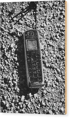 Old Broken Smashed Thrown Away Cheap Cordless Phone Usa Wood Print by Joe Fox