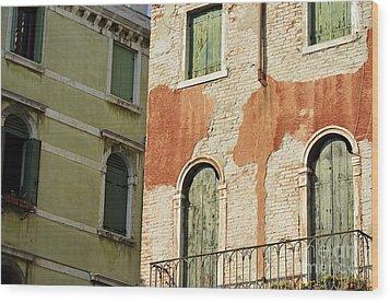 Old Buildings Facades Wood Print by Sami Sarkis