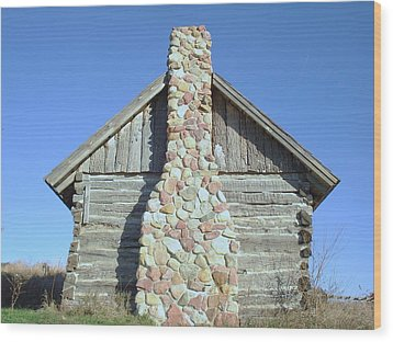 Wood Print featuring the photograph Old Cabin Chimney by J L Zarek