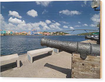 Old Cannon And Queen Juliana Bridge Curacao Wood Print by Amy Cicconi