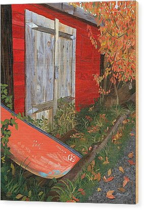 Wood Print featuring the painting Old Canoe by Lynne Reichhart