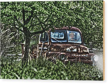 Old Car With Ghost Driver Wood Print by Dan Friend