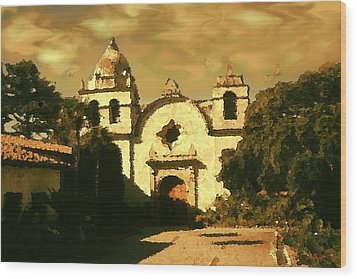Old Carmel Mission - Watercolor Wood Print