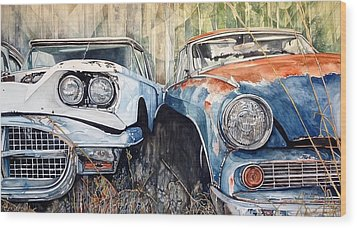 Old Cars Wood Print by Lance Wurst