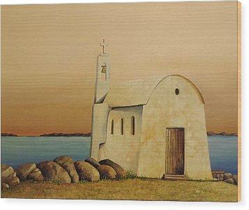 Old Chapel On Mykonos Wood Print by Martin Schmidt