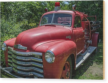 Wood Print featuring the photograph Old Chevy Fire Engine by Susan  McMenamin