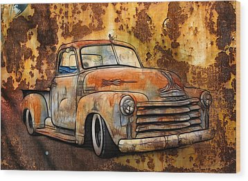 Old Chevy Rust Wood Print by Steve McKinzie