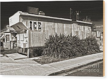 Old Chino Ice House - Sepia Toned Wood Print by Gregory Dyer