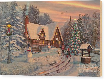 Old Christmas Cottage Wood Print by Dominic Davison