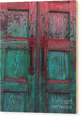 Wood Print featuring the photograph Old Church Door Handles by Becky Lupe