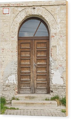 Wood Print featuring the photograph Old Church Door by Les Palenik