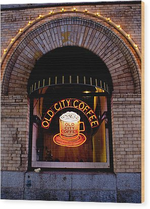 Old City Coffee Wood Print
