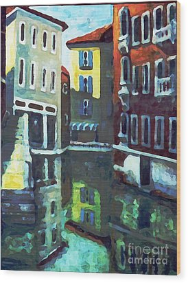 Wood Print featuring the painting Old City Of Venice In Sunlight by Rita Brown