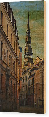 Old City Street - Stylized To Old Image Wood Print by Gynt