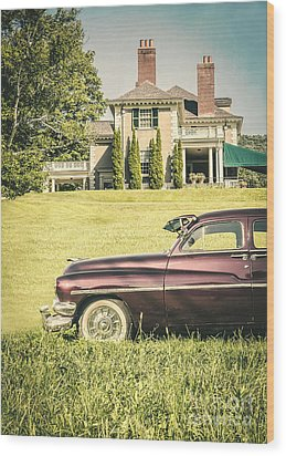 1951 Mercury Sedan In Front Of Large Mansion Wood Print by Edward Fielding