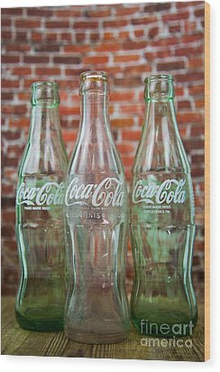 Old Cola Bottles Wood Print by Serene Maisey