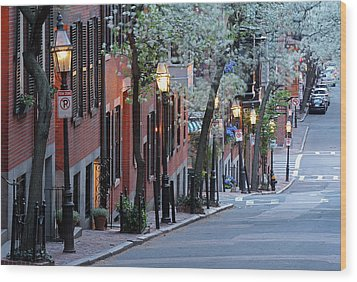 Old Colonial Brick Row Houses Of Beacon Hill Wood Print by Juergen Roth