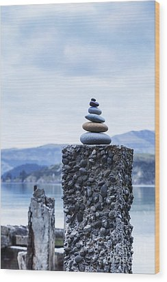 Old Concrete Jetty Posts Governors Bay Banks Peninsula New Zealand Wood Print by Colin and Linda McKie