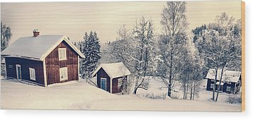 Wood Print featuring the photograph Old Cottages In A Snowy Rural Landscape by Christian Lagereek