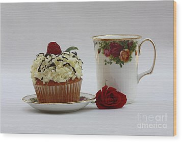 Old Country Rose And Raspberry Cupcake Delight Wood Print by Inspired Nature Photography Fine Art Photography