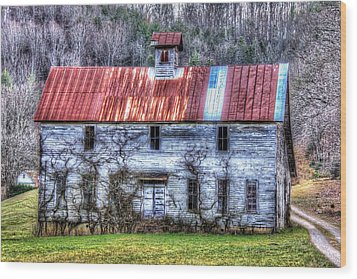 Old Country Schoolhouse Wood Print by Tom Culver