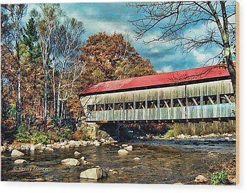 Old Covered Bridge Wood Print by Kenny Francis