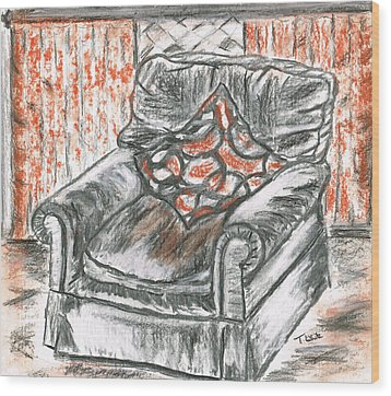 Wood Print featuring the drawing Old Cozy Chair by Teresa White