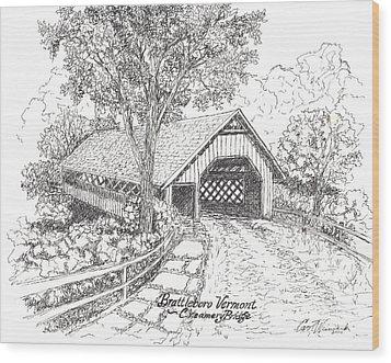 Old Creamery Bridge In Brattleboro Vermont Wood Print by Carol Wisniewski