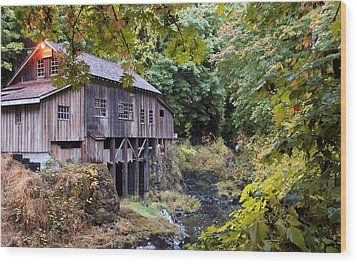 Old Creek Grist Mill In Autumn Wood Print by Athena Mckinzie