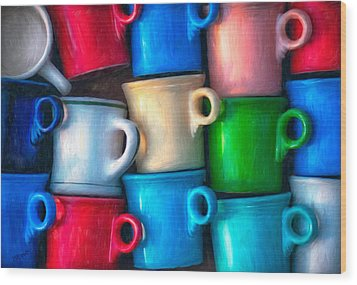Old Cups For Sale Wood Print by Brenda Bryant