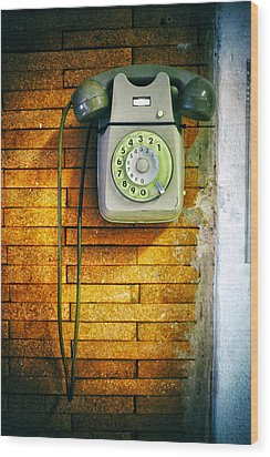 Wood Print featuring the photograph Old Dial Phone by Fabrizio Troiani