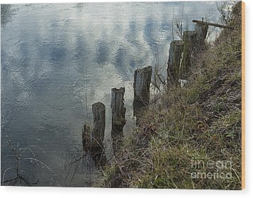 Old Dock Supports Along The Canal Bank - No 1 Wood Print by Belinda Greb