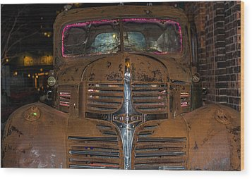 Old Dodge Truck In  Neon Wood Print
