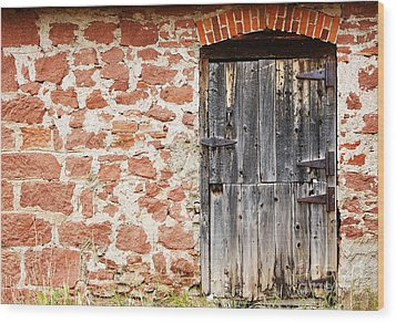 Wood Print featuring the photograph Old Door In A Stone Wall by Lincoln Rogers