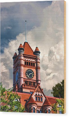 Old Dupage County Courthouse Clouds Wood Print by Christopher Arndt