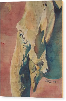 Wood Print featuring the painting Old Elephant by Andrew Gillette