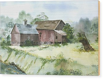 Wood Print featuring the painting Old Farm Buildings by Susan Crossman Buscho