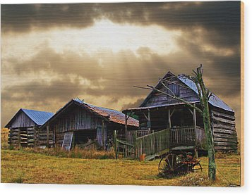 Wood Print featuring the photograph Old Farm House by B Wayne Mullins