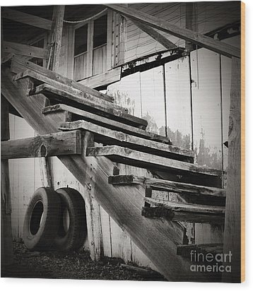 Old Farm Stairs Wood Print by Charmian Vistaunet