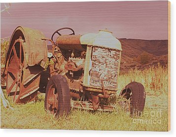 Old Farm Tractor  Wood Print by Jeff Swan