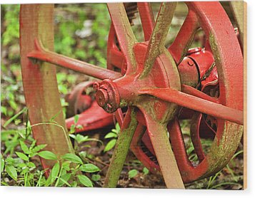 Old Farm Tractor Wheel Wood Print