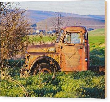 Old Farm Truck Wood Print by Steve G Bisig