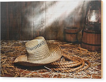 Old Farmer Hat And Rope Wood Print by Olivier Le Queinec