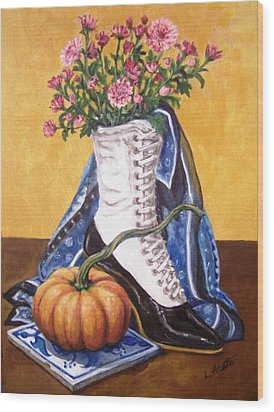 Wood Print featuring the painting Old Fashioned Fall by Laura Aceto