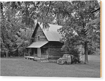 Old Ford And Cabin Wood Print by Bob Jackson