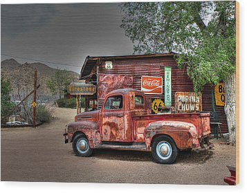 Old Ford Pickup On Route 66 Wood Print